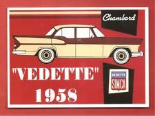 CARTE POSTALE PUBLICITAIRE VOITURE SIMCA CHAMBORD VEDETTE 1958 02