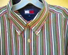 Repair Vtg Tommy Hilfiger Xl L Button Down Rainbow Multi Color Striped Shirt Men