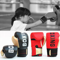 Leather Boxing Gloves Muay Thai MMA Punching Sparring Kids Training Boxing Glove