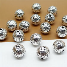 4pcs of 925 Sterling Silver Cobbled Type Round Ball Beads Diameter 10mm