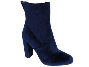 Steve Madden Women's Brisk Block-Heel Sock Booties Navy Velvet Size 7.5 M