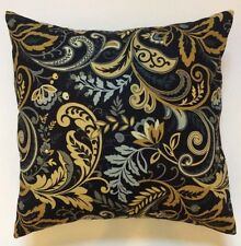 Throw Pillow Sham/Cover for 18x18 Insert Black/Gold/Gray Scroll Floral Linen