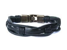 "Men Leather bracelet - Rustic-Black - Gift for Him -""Raw Leather"" multi strand"