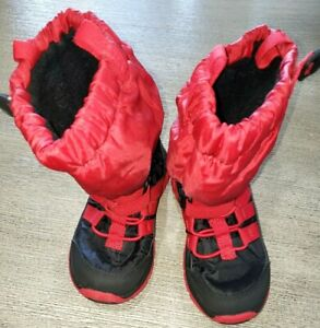 STRIDE RITE BOYS 9 medium toddler SNOW BOOTS RED BLACK FLEECE LINED 200 gram ins