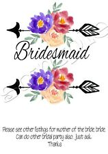 Iron on Transfer BRIDE HENS FLOWER ARROW BOHO WEDDING BRIDESMAID 14X14CM