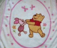 Disney High Pile Pink Winnie the Pooh & Piglet Butterflies Baby Girl Blanket EUC