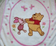 Disney High Pile Pink Winnie the Pooh & Piglet Butterflies Baby Girl Blanket Euc