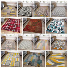 Grey Yellow Trellis Geometric Rugs Ochre Silver Cosy Small Large Rug Living Room