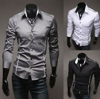 Hot Fashion Mens Luxury Long Sleeve Casual Slim Fit Stylish Dress Shirt 3 Color