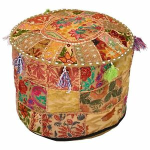 "Bohemian Patchwork Pouf Cover Ottoman Ethnic Decor Indian Pouffe 18"" Foot Stool"