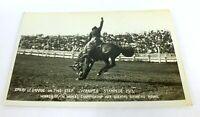 Antique RPPC POSTCARD Unused 1913 WINNIPEG STAMPEDE WORLD CHAMPION BRONCHO RIDER