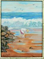 "M. JANE DOYLE SIGNED ORIGINAL ART OIL/CANV PAINTING ""BY THE SEA"" (BEACH) FRAMED."