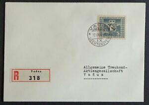 LIECHTENSTEIN 1945: 5-Franken-Frankatur per R innerorts Vaduz