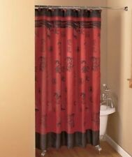 Asian Bamboo Shower Curtain Symbols Brick Color