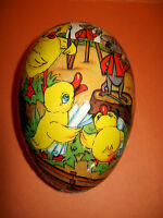 VINTAGE E.GERMANY PAPER MACHE EASTER EGG CHICKS MOUSE