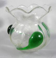 Art Nouveau 8 way crimped rim green trailed glass vase c1900