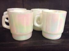 VGC Set Of Four Fire King Opalescent Stacking White Iridescent Mugs MINTY MINTY!