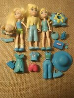 "Polly Pocket ""Colors of the Rainbow"" Blue Lot Big Feet Dolls Modern Pet O37"