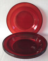 "Vintage Ruby Red Glass Rimmed Soup Bowls 8 1/2"" Set Of 4 Arcoroc France"