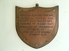 More details for vintage wooden copper midland railway company shield wall plaque salvage c1980s