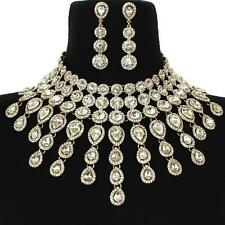 "12"" gold clear crystal choker collar bib necklace 2.70"" earrings bridal prom 22"