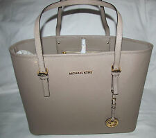 Michael Kors Extra Large Saffiano leather Jet Set Travel Tote Bag Purse Taupe