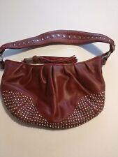 Kate Landry Leather Studded Tassel Zipper Top Red Maroon Shoulder Bag Purse