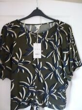 MONSOON PAMELA GREEN BLUE IVORY LEAF PRINT DRAPEY TOP UK 22, EUR 50, US 18 BNWT