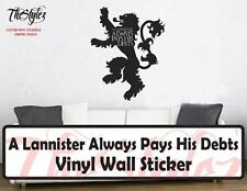 Game of Thrones A Lannister Always Pays His Debts Vinyl Wall Sticker