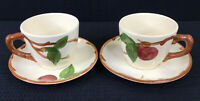 Franciscan Apple Set Of 2 Tea Cups And Saucers Coffee Cups Vintage Made In USA