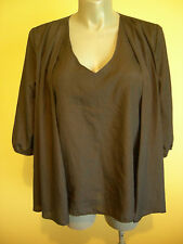 Ladies Womens 3/4 Sleeve Black Shear Blouse Shirt Top Dressy Evening Now Size 18