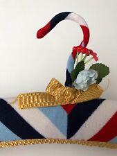 STRIPED RED WHITE BLUE LUXURY PADDED UNUSED VINTAGE DRESS/GARMENT/COAT HANGER