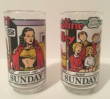 The Sunday Funnies Drinking Glasses Gasoline Alley & Terry And The Pirates 1976