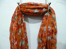 Fair Trade Orange Floral Scarf Womens Accessory Crinkle Polyester 68 inches Long