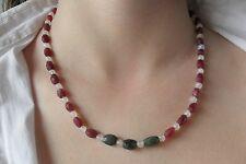 Kette, Collier echte Rubine, Smaragde und Regenbogen-Mondstein 44cm+6cm Verläng.