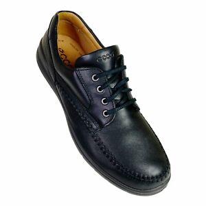ECCO Fusion Mens Oxford Moc Toe Shoe Black Leather Lace Up US 13 Dress Comfort