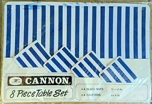 Vintage 1980s CANON Blue & White Geometric Stripe TABLE 4 Placemats & Coasters
