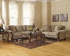 FARRIS-Wood Trim Brown Microfiber Sofa Couch Loveseat Set Living Room Furniture