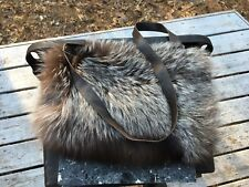 Real Silver Fox Fur Handmuff Wool Lined and Leather Italy