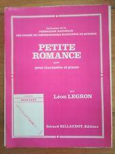 Partition ancienne - Petite romance - Léon Legron - Clarinette et piano
