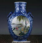 "12""Old Qianlong Year Blue White Porcelain Dragon Pattern People Boy Vase Bottle"