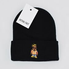 Actual Fact Biggie Coogi Cartoon Embroidered Hip Hop Roll Up Black Beanie Hat