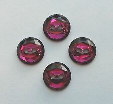 2 Swarovski 3014 12mm Ruby Faceted Crystal Round Sew-On M-Foiled Buttons