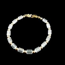 Swarovski Signed  Clear Crystal and Gold Tone Beads Tennis Bracelet