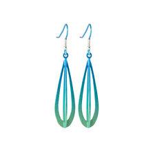 Titanium 3 Dimensional Green Drop Earrings