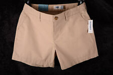 """Women's Old Navy KHAKI Beige Mid Rise Shorts 5"""" Length RUBBER BAND Size 4 ~ NEW~"""