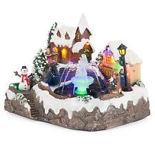 LED Christmas Water Fountain Musical Colour Changing Table Top Village Scene