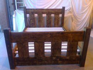 HANDMADE SOLID WOODEN CHUNKY RUSTIC SLAT PINE DOUBLE BED - DARK OAK