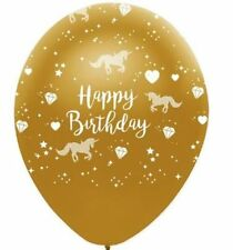 UNICORN HAPPY BIRTHDAY GOLD LATEX BALLOONS ** PACK OF 10 ****