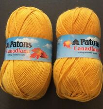 Patons Canadiana Yarn 2 Skeins Gold Yellow Soft Worsted Acrylic 228 Yards 3.5 Oz